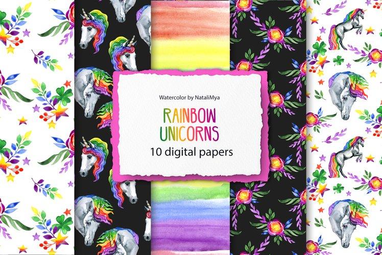 Rainbow unicorns digital paper pack example image 1