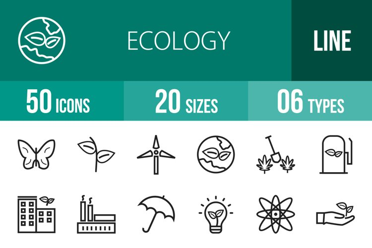 50 Ecology Line Icons example image 1