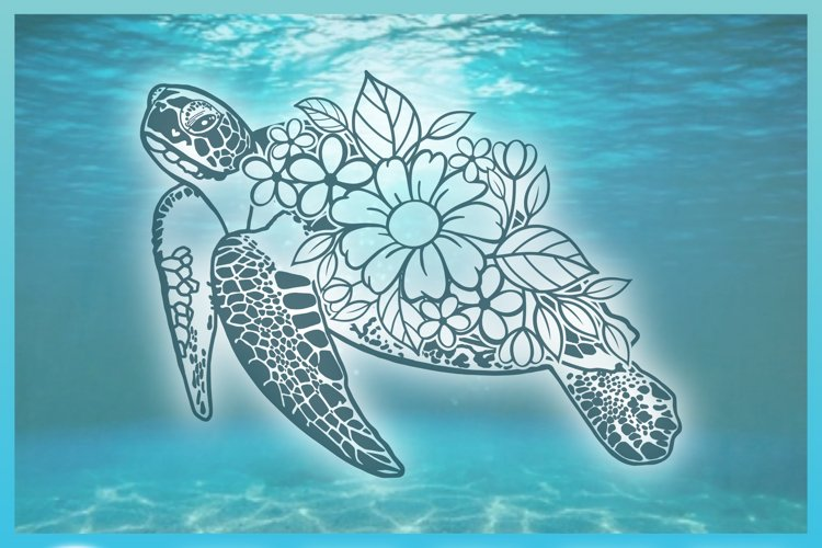 Floral Turtle Shell | Flower Mandala Zentangle SVG