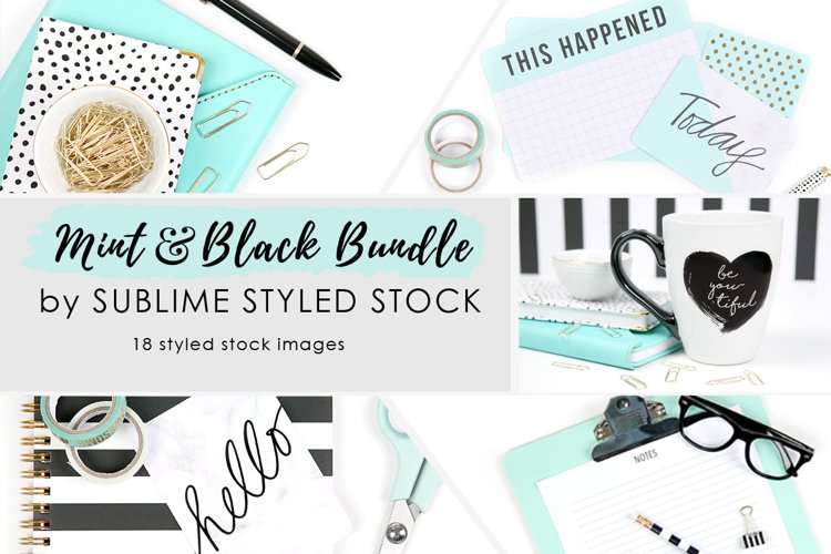Mint and Black Styled Stock Photo Bundle - 18 Images