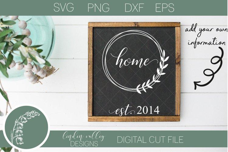 Home Floral Wreath SVG|Established SVG|Family SVG|Home SVG example image 1