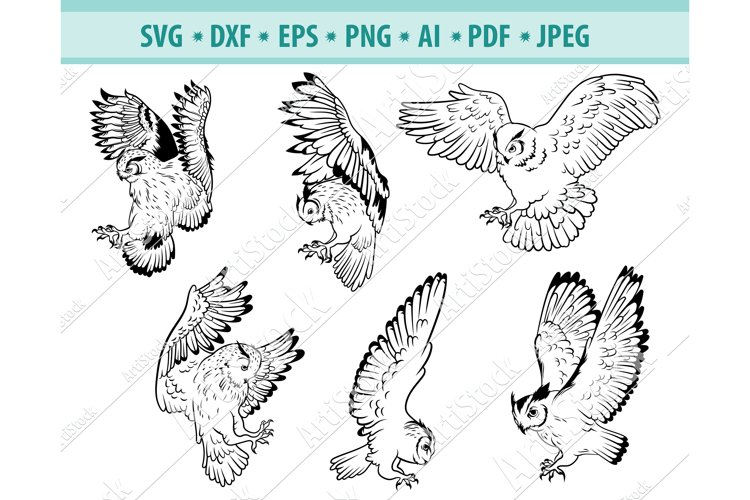Owl SVG, Owl Clipart, Flying owl Svg, Birds Png, Dxf, Eps example image 1