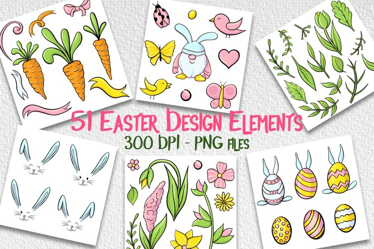 Hand drawn Easter design elements png set example image 1