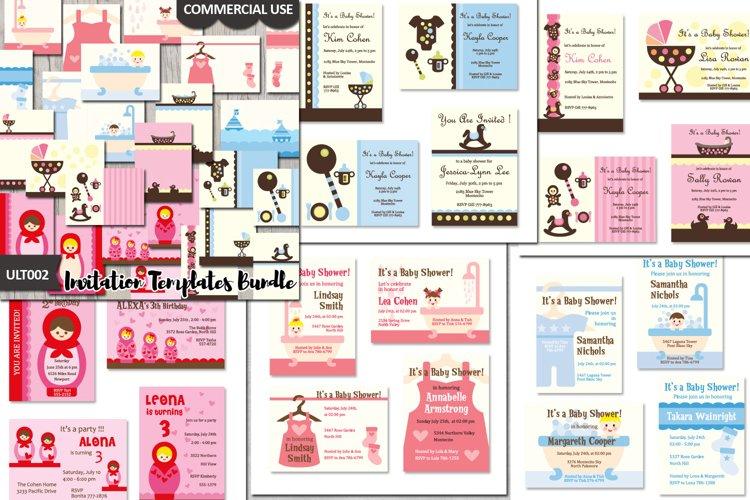 Templates Bundle, Baby Shower Invites Cards Design