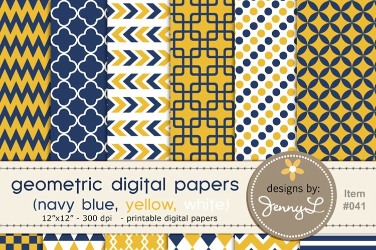 Navy and Yellow Geometric Digital Papers example image 1
