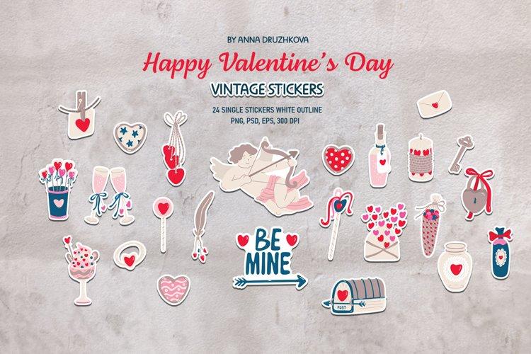 Valentines Day stickers set