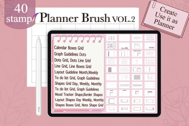 Procreate Brushes stamp Outline Planner, Planner Shapes Grid