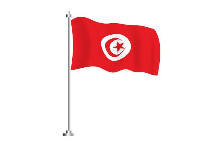 Tunisian Flag. Isolated Wave Flag of Tunisia Country. example image 1
