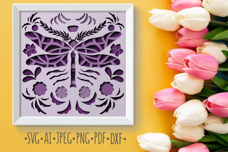 Papercut 3D Dragonfly Flowers Layered Design example image 1