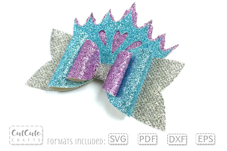 Icy frozen crown hair bow SVG template for Christmas