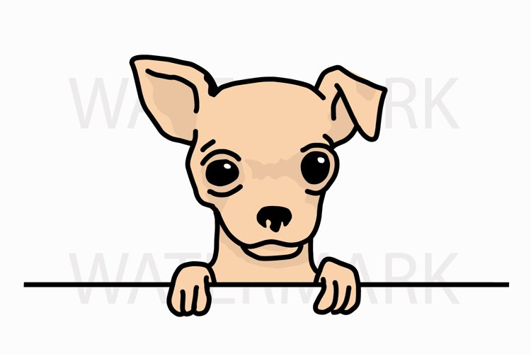 Peeping Chihuahua saying hello - SVG/JPG/PNG Hand Drawing example image 1