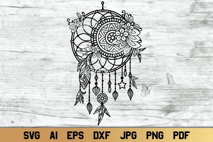 Dream Catcher SVG with Mandala and Flowers   Boho svg