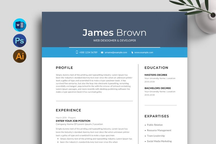 Content Marketer Resume CV, Template & Cover Letter