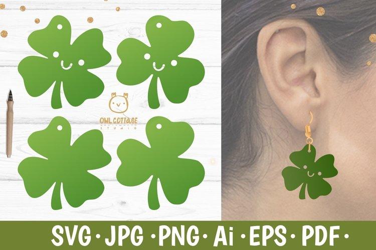 St.Patricks Day Clover Earrings SVG, Shamrock Earrings svg example image 1