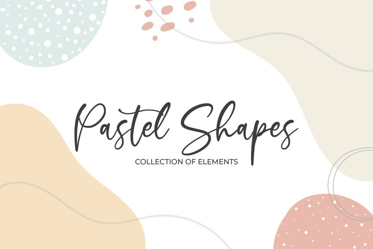 Abstract Pastel Shapes and Elements. Modern art clipart example image 1