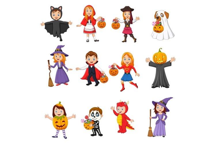 Set of twelve Cartoon Halloween Kids Character example image 1