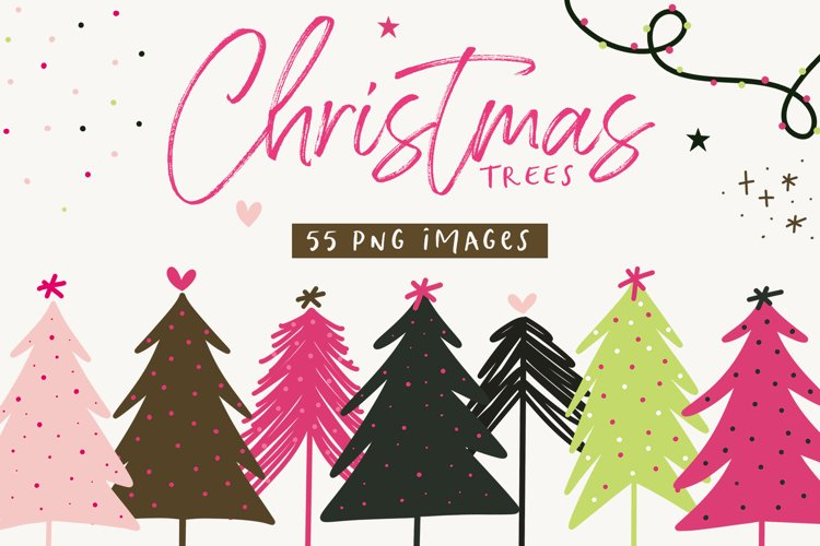 Modern Christmas Trees - Clip Art Collection / Pink