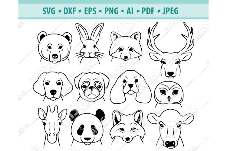 Animals face Svg, Heads Animals Png, Pets clipart, Eps ,Dxf