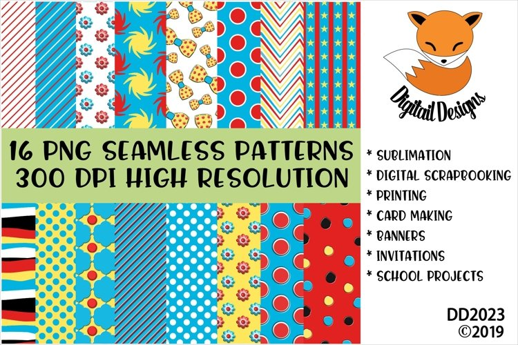 Bright Colored Children's Book Style Digital Paper Pack example image 1