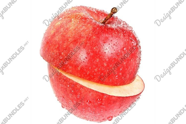 Stock Photo - Ripe cut apple on a white background. example image 1