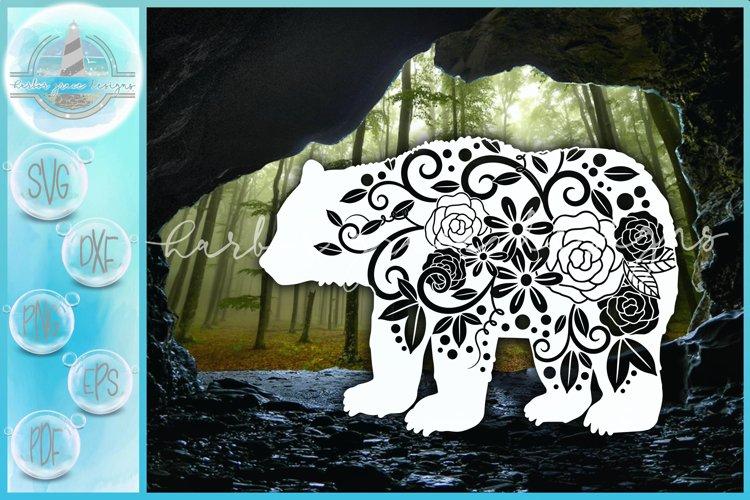 SVG Floral Bear Mandala Zentangle SVG example image 1
