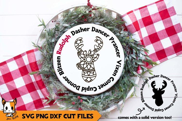 Christmas Mandala SVG | Reindeer Names | Wood Rounds example image 1