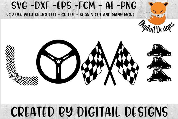 Quarter Midget Car Racing Love SVG - Silhouette - Cricut