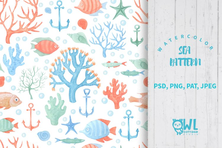 Sea Life Watercolor Seamless Pattern example
