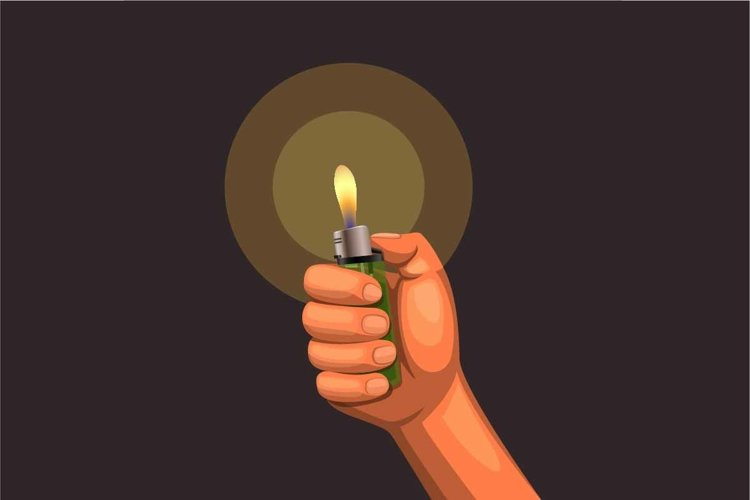 hand hold burning lighter in the dark. concept in realistic example image 1