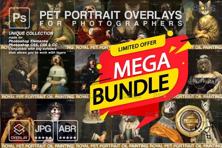 MEGA BUNDLE Royal Pet Portrait templates Digital pet example image 1