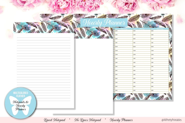 Multicolored Feather Digital Notepads and Hourly Planner example image 1