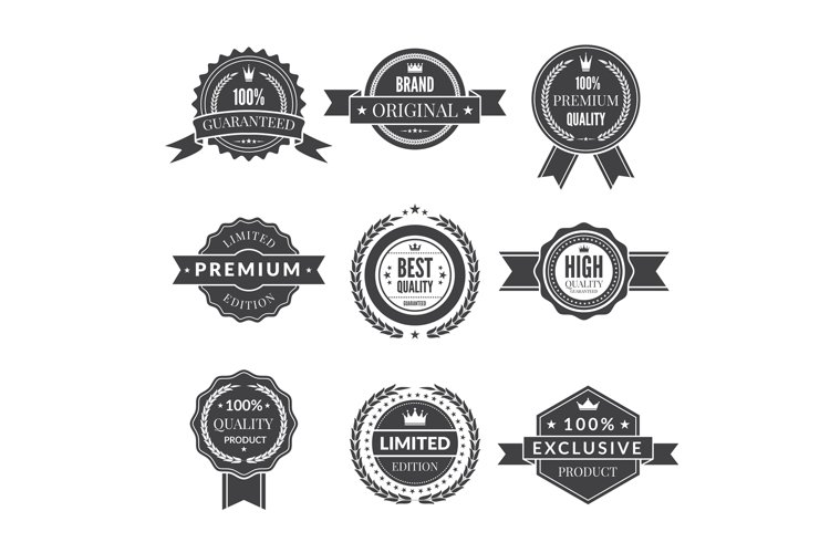 Vintage template of monochrome premium labels for guarantee example image 1