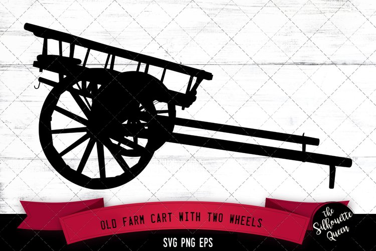 Old Farm Cart with Two Wheels Svg Cut File