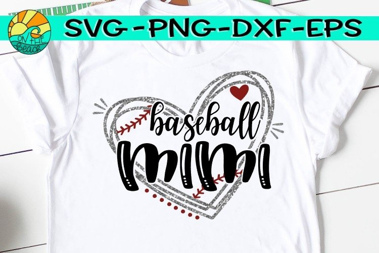 Baseball Mimi - Heart - SVG - DXF - EPS - PNG example image 1