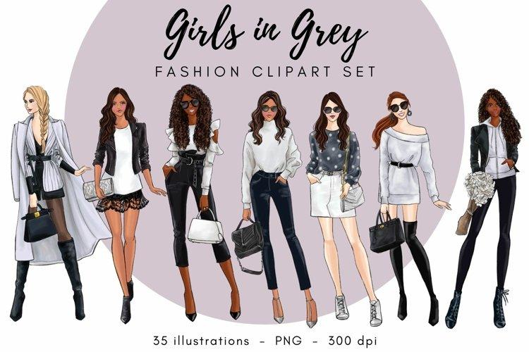 Girls in Grey Fashion Clipart Set
