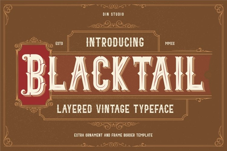 Blacktail - Layered Vintage Font example image 1