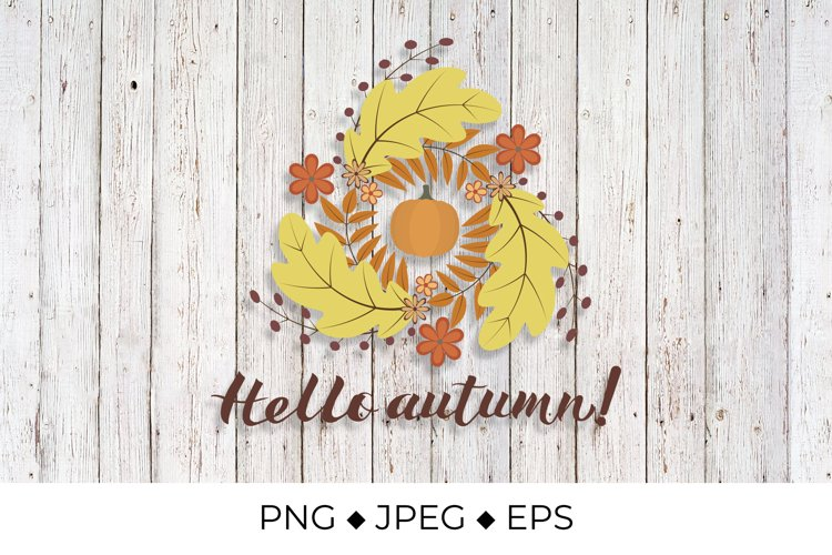Hello Autumn lettering with Wreath of colorful leaves example image 1