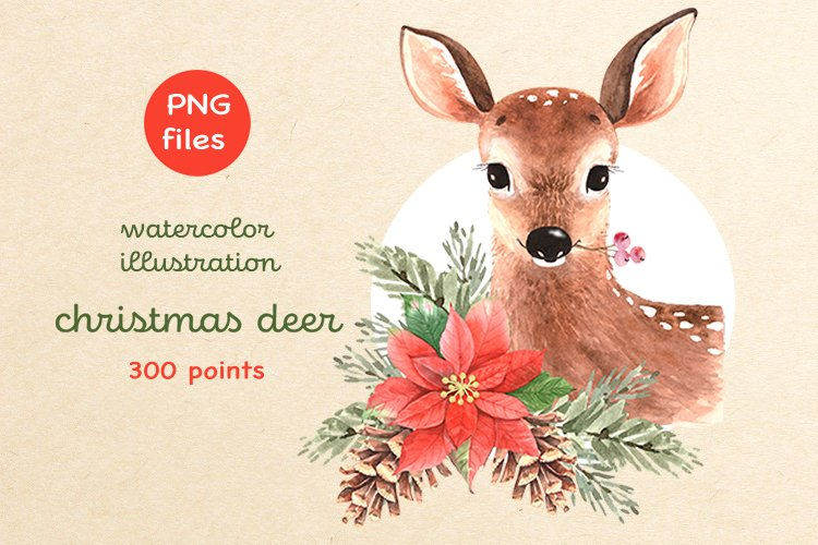 watercolor illustration of cute deer with christmas bouquet example image 1