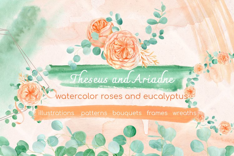 Watercolor eucalyptus and peach floral rose clipart example image 1