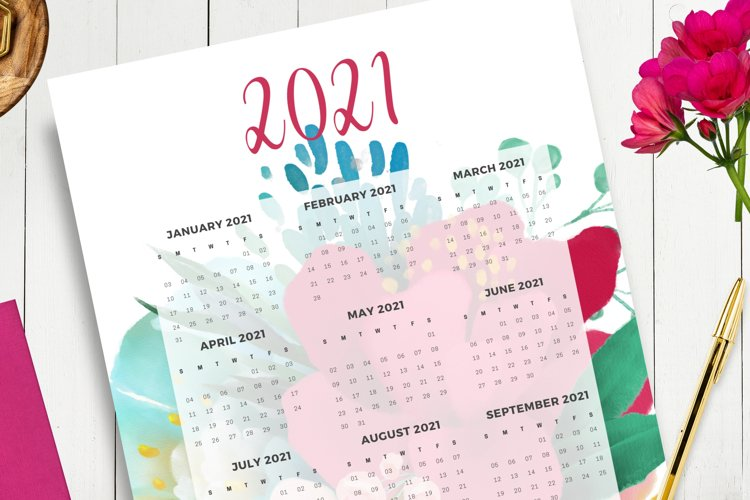 2021 Dated Printable Floral and Gold Calendar example 1