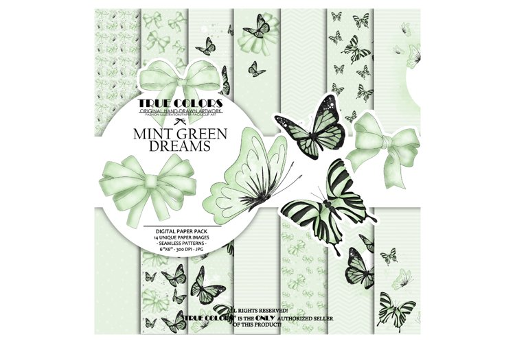 Mint Green Dreams Baby Paper Pack Fashion Illustration example image 1