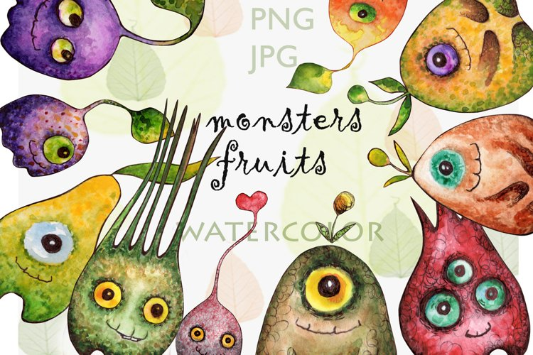 Watercolor collection Eye fruits example image 1