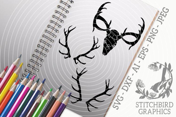 Stag Skull Bundle SVG, Silhouette Studio, Cricut, Eps, JPEG example image 1