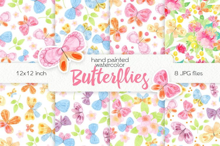 Watercolor Butterflies. Seamless Patterns example image 1