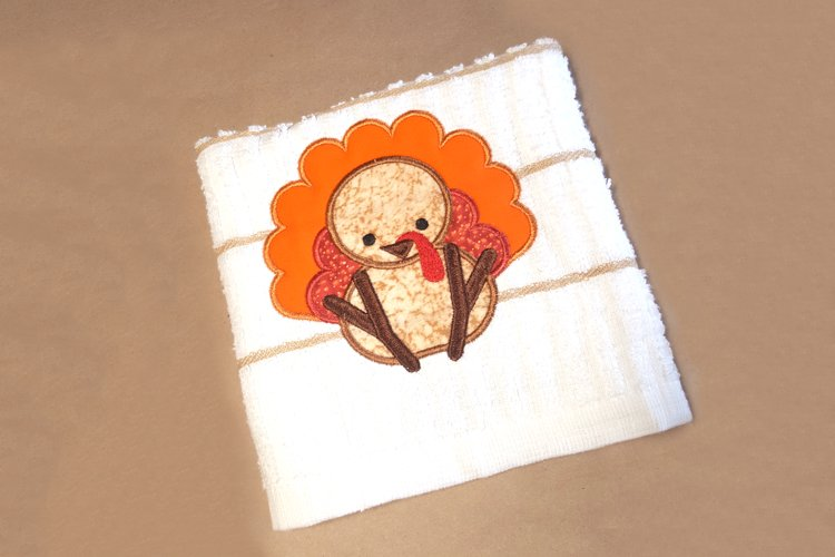 Cute Thanksgiving Turkey Applique Embroidery Design example image 1