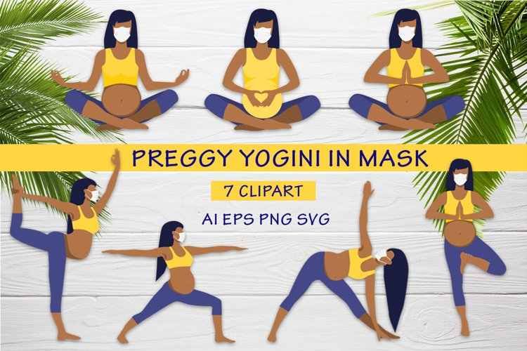 Preggy Yogini in mask yoga pregnance poses vector collection