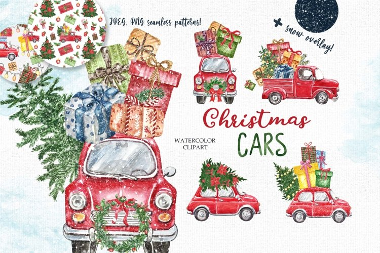 Christmas cars Clipart Watercolor Red Vintage Truck Patterns