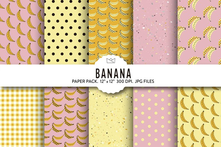 Banana digital paper, banana wrapping paper, banana pattern