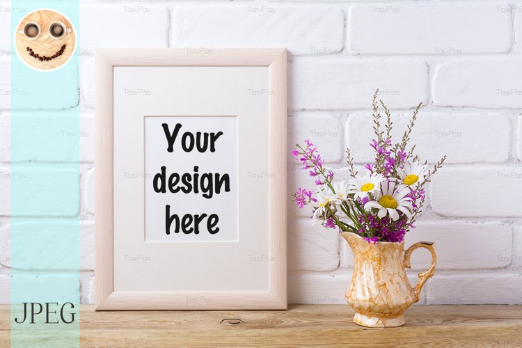 Wooden frame mockup with chamomile and purple flowers in gol example image 1