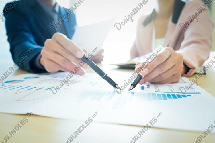 Startups business teamwork meeting analyse marketing data. example image 1
